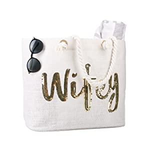 Wifey Wedding Bride Tote Shower Gifts for Women Tote Bachelorette Gifts Bag Honeymoon Beach Bag Jute