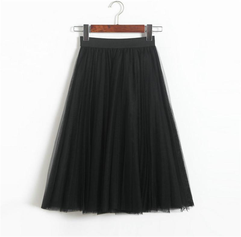 Vintage Women Tulle Skirt 2020 Autumn Elastic High Waist Mesh Skirts Long Pleated Tutu Skirt Female Jupe Longue JX8042 (24)