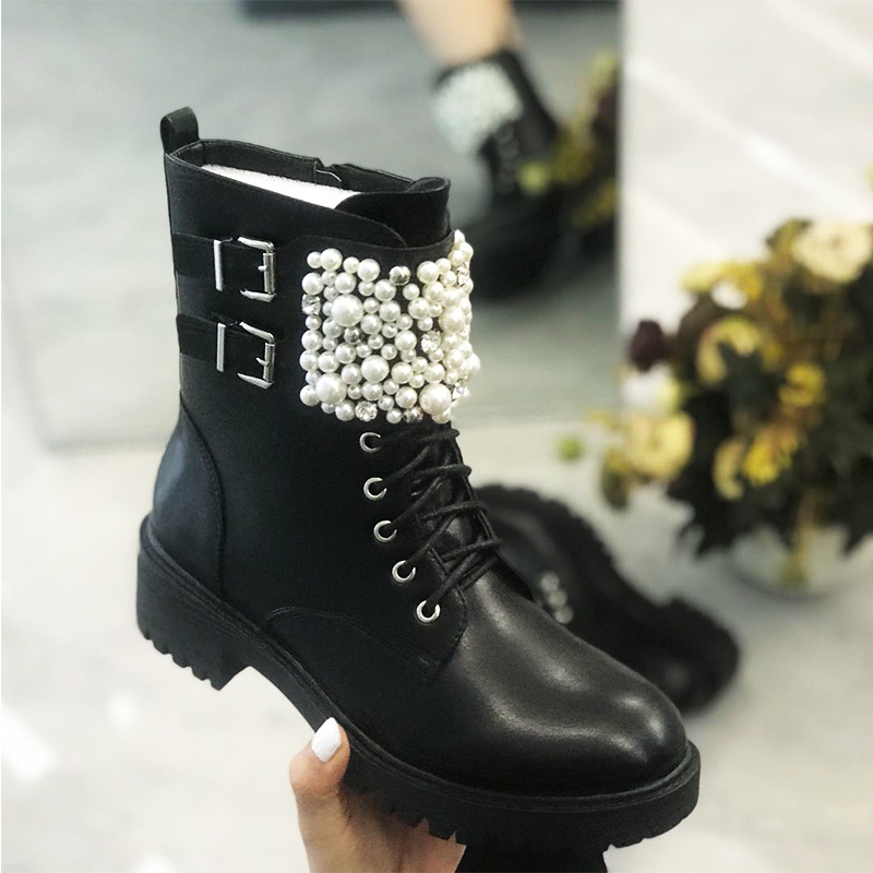 GOGD-Winter-Women-Bead-Flat-Zipper-Ankle-Boots-Pearl-Round-Toe-with-Decoration