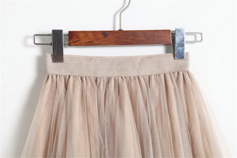Vintage Women Tulle Skirt 2020 Autumn Elastic High Waist Mesh Skirts Long Pleated Tutu Skirt Female Jupe Longue JX8042 (2)