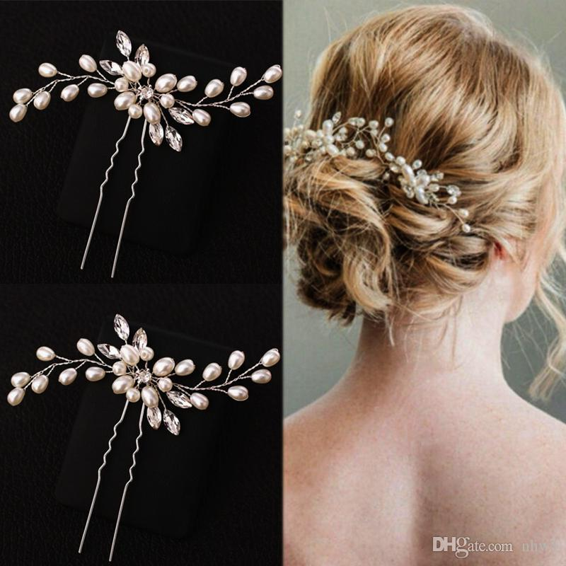 Elegant Bridal Pearl Handmade Flower Beautiful Crystal Hair Accessories Wedding Hair Pins Engagement Bridal Decor Hairpins Gifts