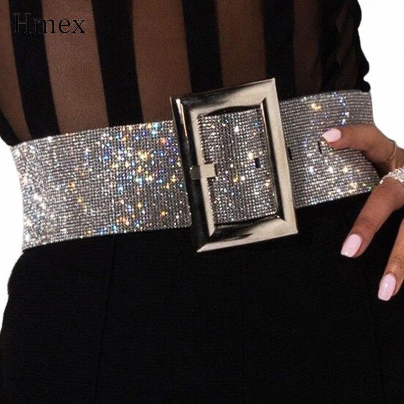 Donna Cintura in Metallo Oro Rosa Fibbia della Cintura Elastica Diamante accessorio di moda