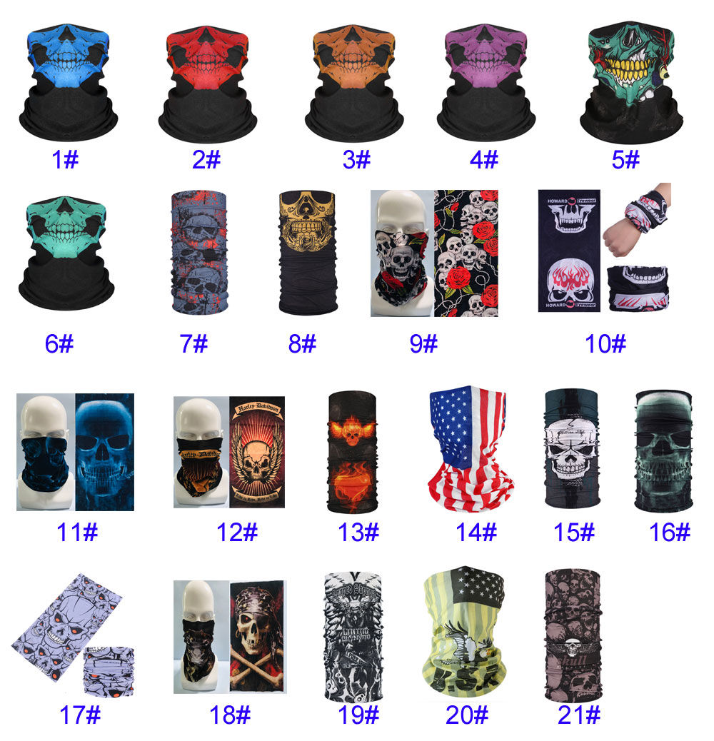 Halloween Masks Party Masks for Adults 3D Skull Print Face Bandana Neck Gaiter Skull Mask Reusable Washable Cloth Fabric Tube Scarf Cheap