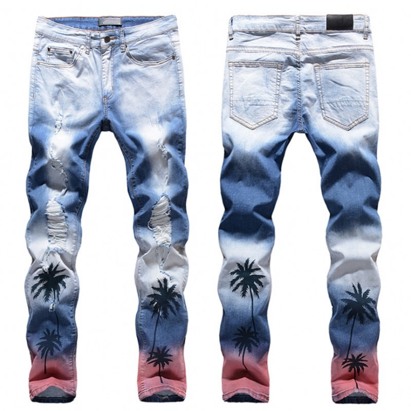 High quality Mens jeans coconut palm printed colored ripped jeans Slim fit holes distressed stretch denim pants Trousers jeans