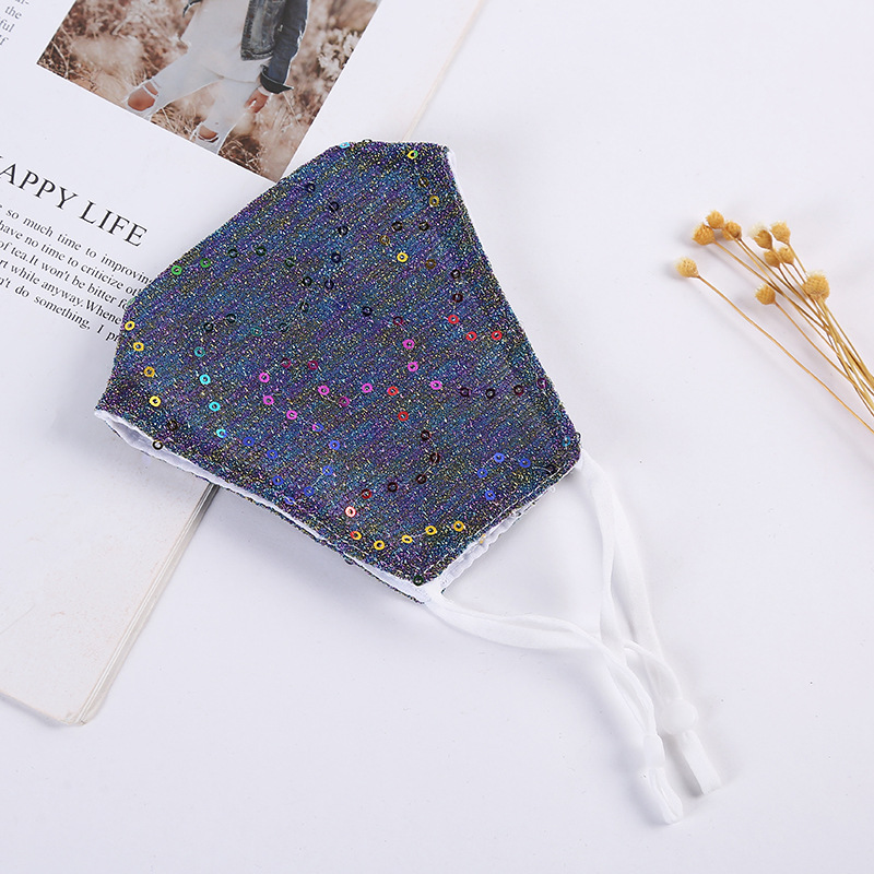 DHL Shipping Washable Sequin Face Mask for Women Anti Dust Glitter Protective Mask Reusable Breathable Comfort Cotton Masks Kimter-L868FA