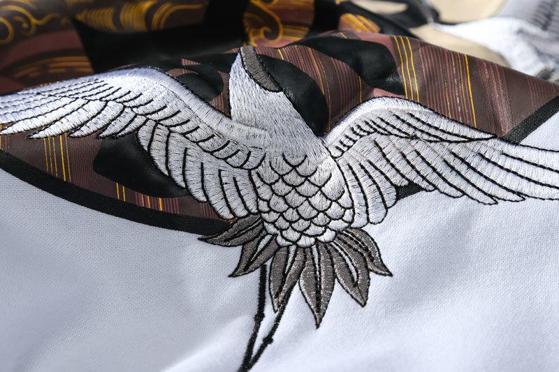 Embroidery Japanese Cranes Pullover Fleece Hoodies 12