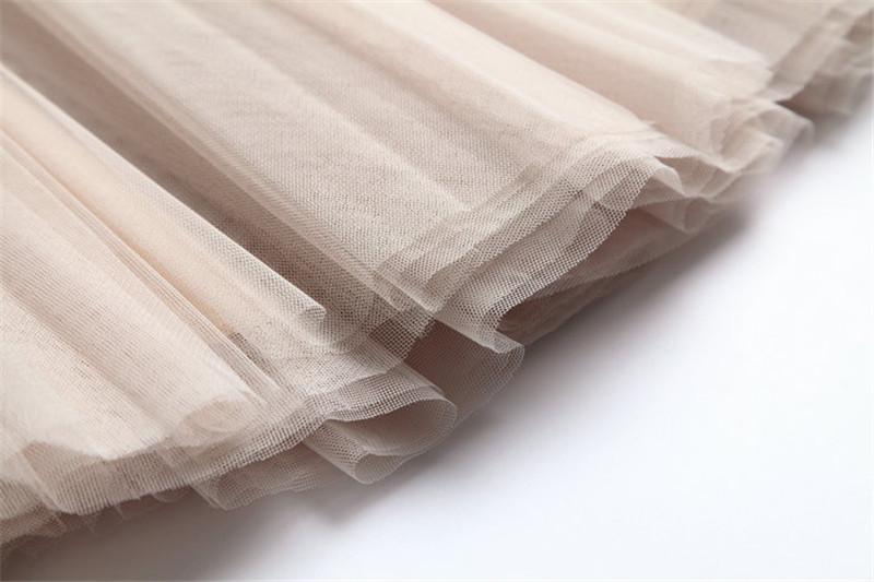 Vintage Women Tulle Skirt 2020 Autumn Elastic High Waist Mesh Skirts Long Pleated Tutu Skirt Female Jupe Longue JX8042 (9)