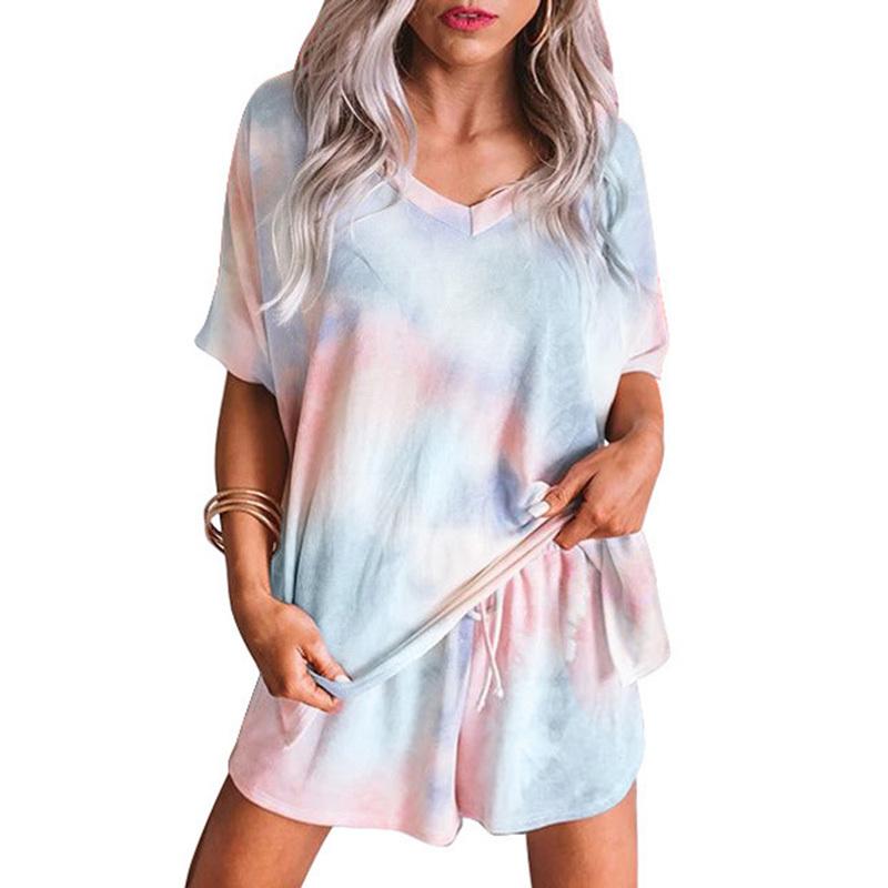 2020 New pijamas women sleepwear women home wear clothes comfortable nightgown top and pants Cute summer short sleeve pajama set (18)