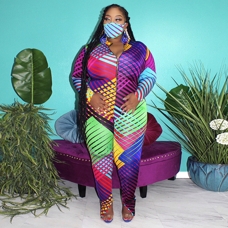 Geometric Full Length Patchwork Pants Bodysuit Stand Collar Jumpsuits for Woman with Zipper Spring Autumn Fashion Female Rompers