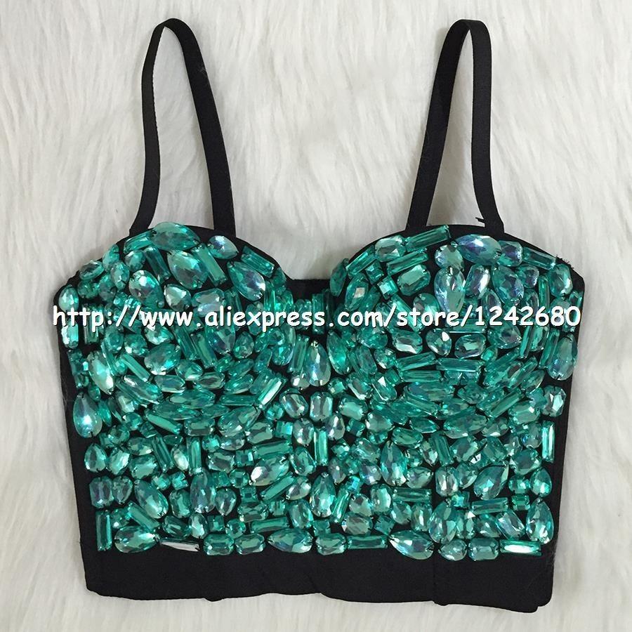 green rinestone corset