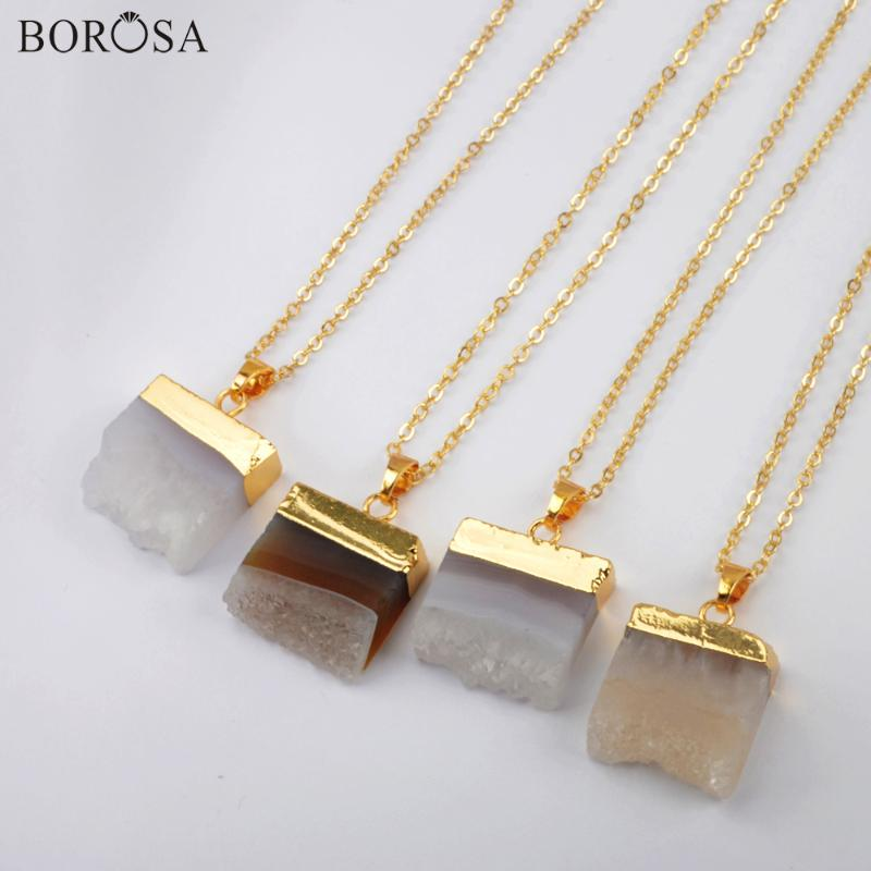 Crudo Collar Colgante de ágata áspero agujero de Cristal y collar de clústeres chapado en oro
