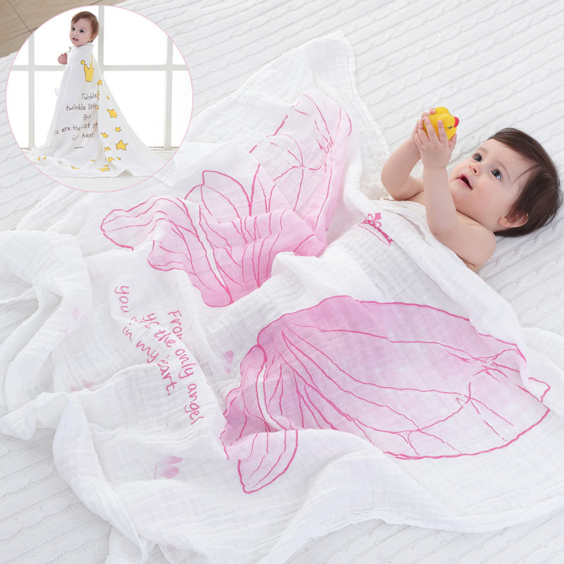 Muslin-Baby-Blanket-spring-and-summer-blanket-girls-Angel-Wings-muslin-cotton-infant-holds-blankets-blanket