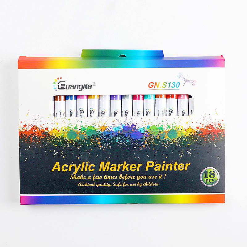 18 ColorsSet 0.7mm Acrylic Paint Marker pen for Ceramic Rock Glass Porcelain Mug Wood Fabric Canvas Painting Detailed Marking (1)