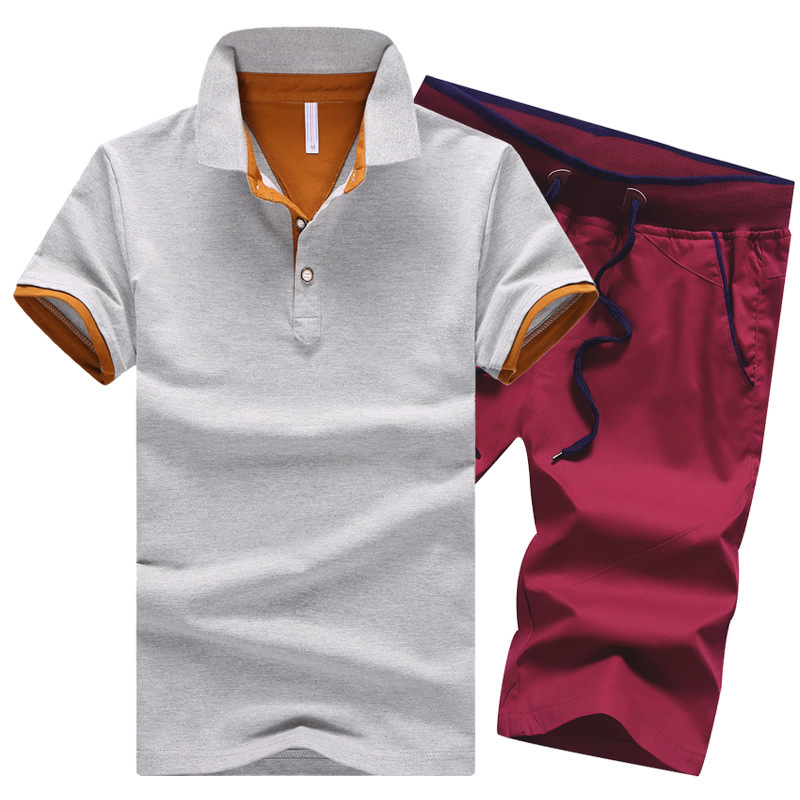 Male-Solid-Fitness-Sets-Button-Turn-Down-Summer-Shirts-Moletom-Cotton-Mens-Shorts-Knee-Length-Clothes (1)