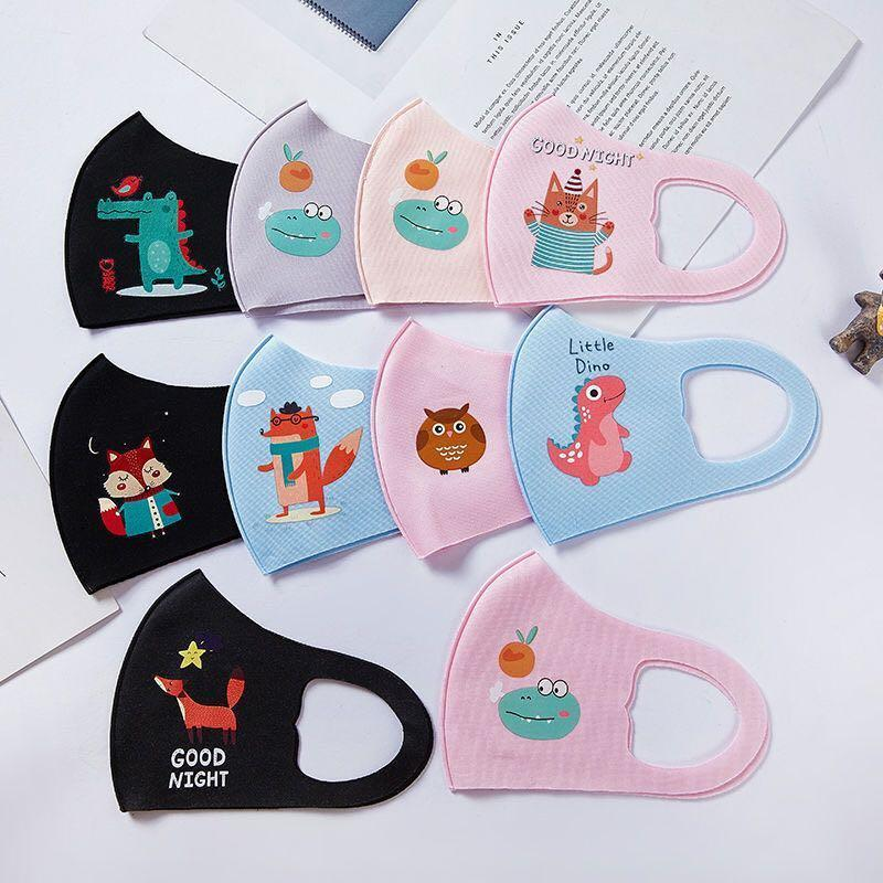 Children Anti-pollution Masks Boys Girls Cartoon Mouth Face Masks Kids Anti-Dust Breathable Earloop Washable Reusable Cotton Mask