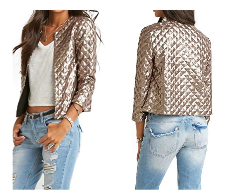 new European and American women golden brown jacket rhombus full sequins jacket wild self-cultivation sleeves short jacket (5)