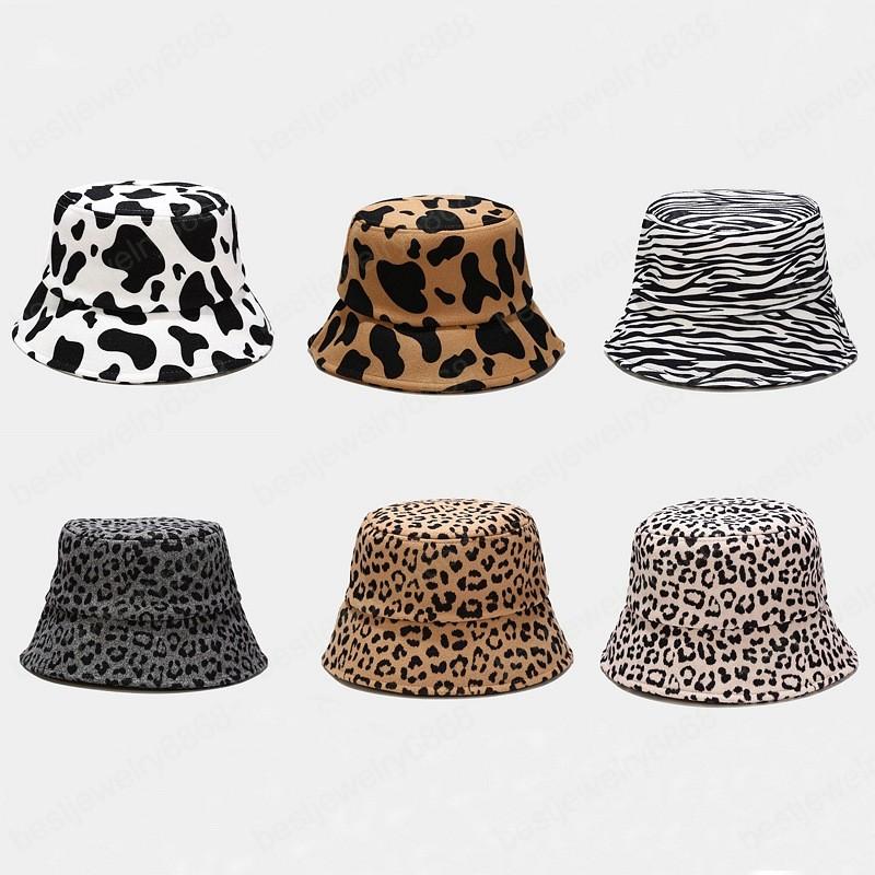 Autumn Winter Cow Leopard Woolen Women Bucket Hat Outdoor Fashion Thick Warm Fisherman Hat Lady Girls Travel Basin Cap Panama