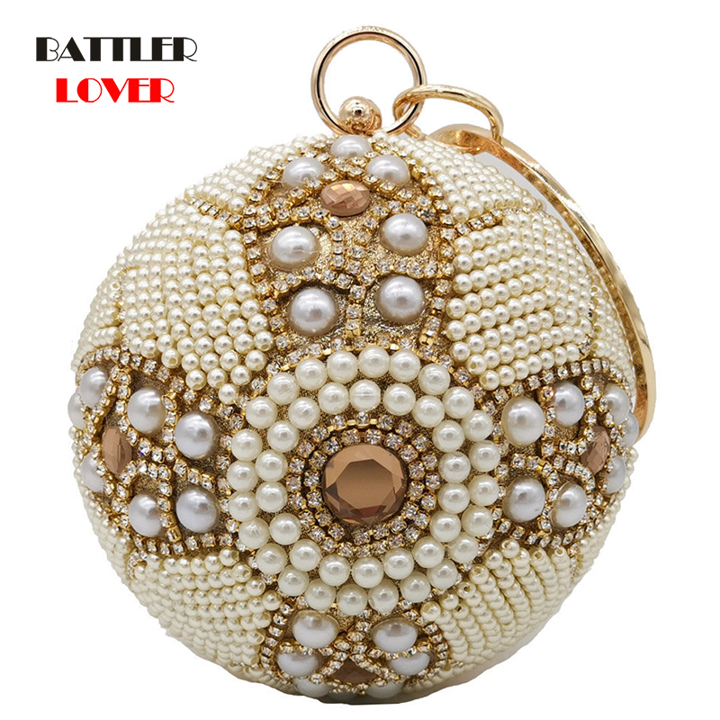 Bags for Women 2020 Luxury Pearl Vintage Round Women Beaded Evening Bags and Clutches Ladies Wedding Purses Bridal Party Handbag