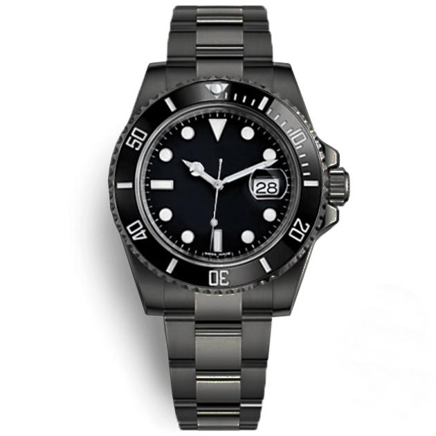 U1 Factory Automatic Mechanical Wristwatch Sapphire Glass Ceramic Bezel Date Stainless Steel Full Black 40mm 116610LN 116610 Mens Watches Montre