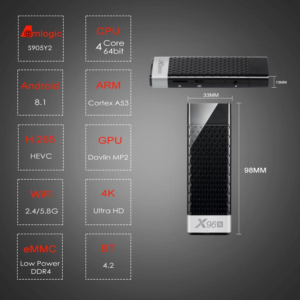Mini-PC-X96S-TV-Box-Android-9-0-TV-Stick-DDR4-4GB-32GB-Amlogic-S905Y2-2