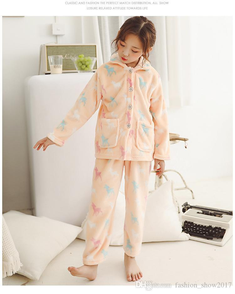 Baby Kids Winter Flannel Pajamas Sets Children Girl Warm Thick Fleece Jacket Pant Sleepwear Girls Fashion One-Piece Nightgowns