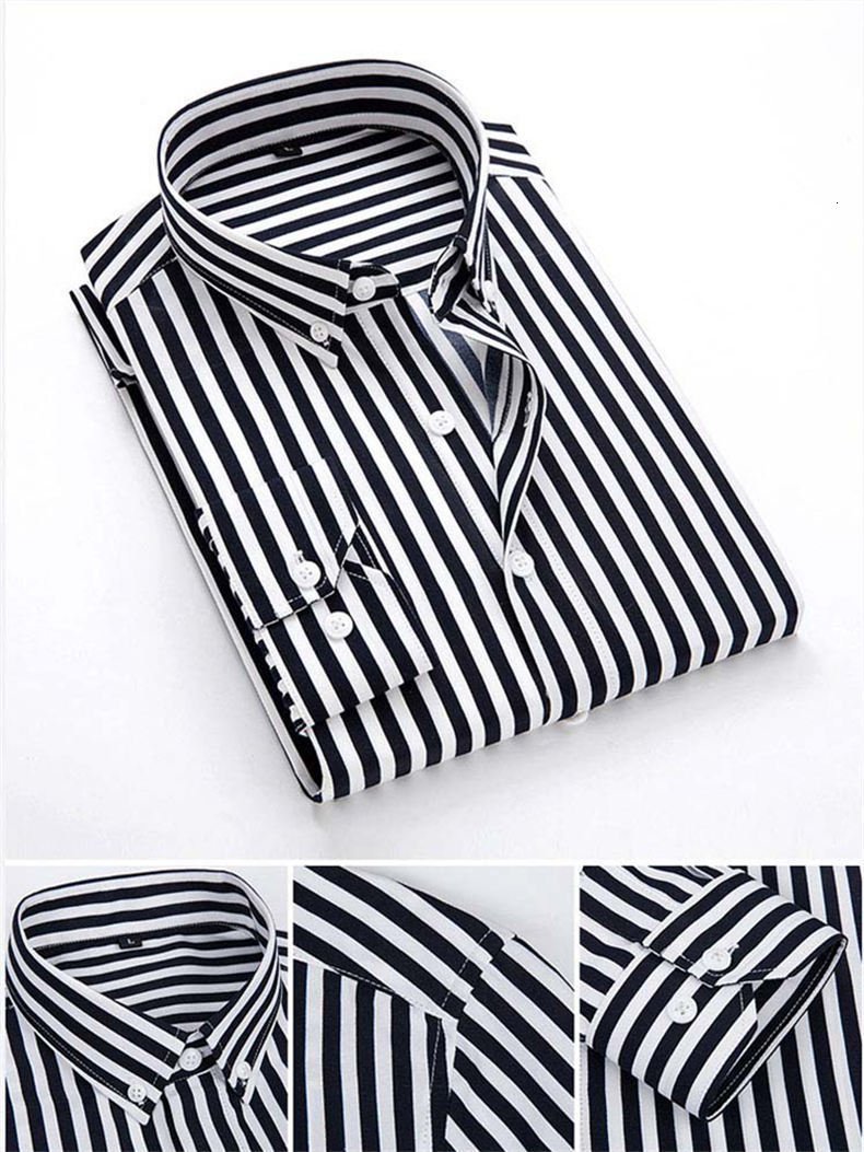 5XL Plus Large Size Striped Shirts Men Long Sleeve Casual Autumn Spring Classic Male Shirts Non-Iron Dress Shirts Man Muls Brand 5