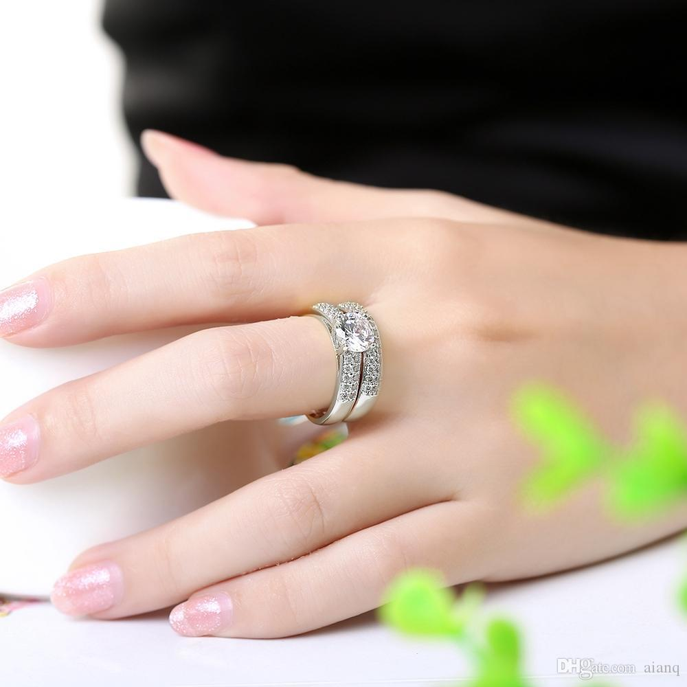 Top Quality Gold / Silver Combination Ring Women Engagement Wedding Ring Cubic Zirconia Big Ring Jewelry
