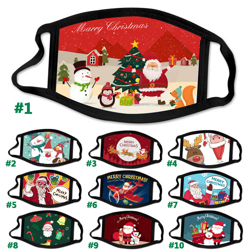 For Adults Cotton Cloth Christmas Party Masks 3D Cartoon Xmas Face Mask Washable Reusable Anti-dust Mouth Cover Mask