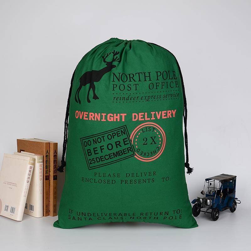 New Christmas Gift Bag with Reindeer Santa Claus Sack Cotton Environmental Protection Bundle Mouth Canvas Bag moose Christmas bag