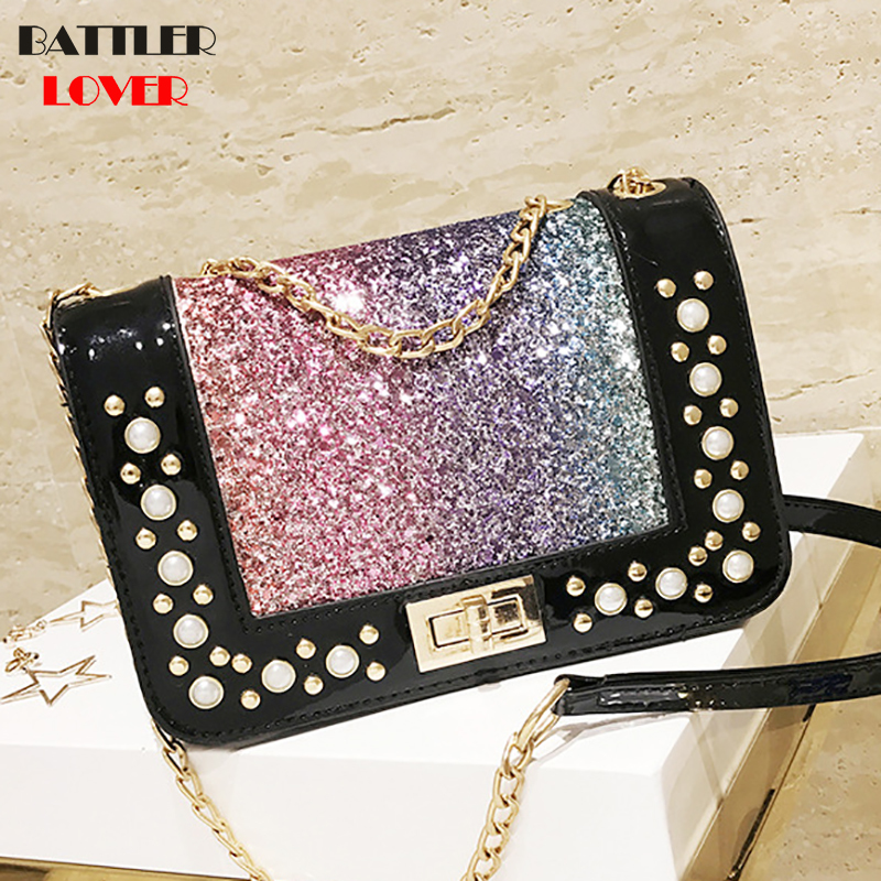 pearl crossbody bags for women 2019 summer candy colored luxury bags diamonds silicone jelly shoulder messenger bags chains girl