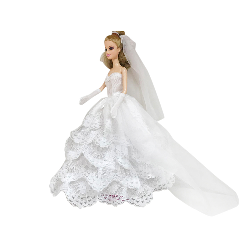 Barbie bridal Dress children's doll costume multi-set combination fashion doll wedding dress little girl gift with veil and gloves