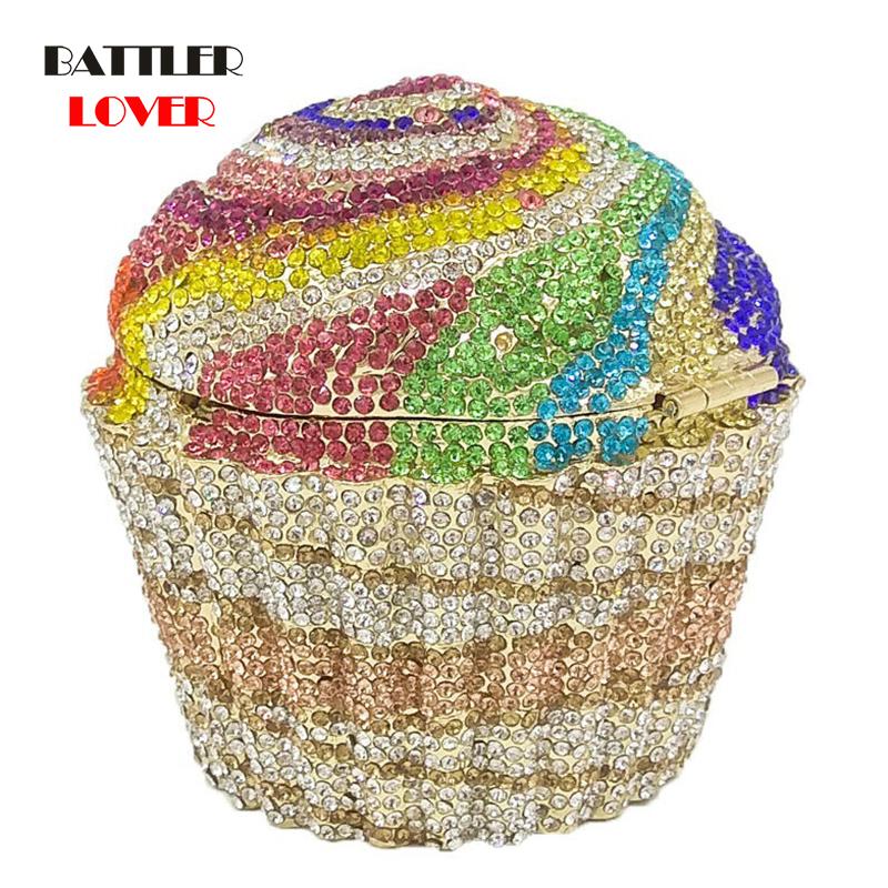 Bag for Women 2020 Bags Women Mini Cupcake Clutch Evening Bags Crystal Wedding Purse Handbag Bridal Party Diamond Minaudiere Bag