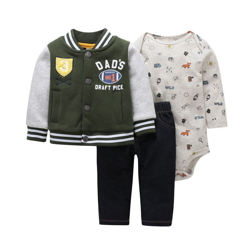 autumn newborn baby clothes cotton sports style jacket+romper+pants 3 pcs clothing set for 6-24M baby girls outfit set