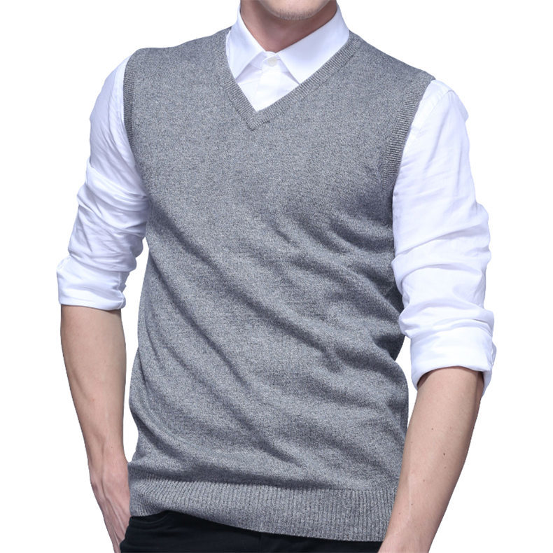 4Colors Men Sleeveless Sweater Vest Autumn Spring 100% Cotton Knitted Vest Sweater Basic Male Classic V neck Tops New M-3XL-05