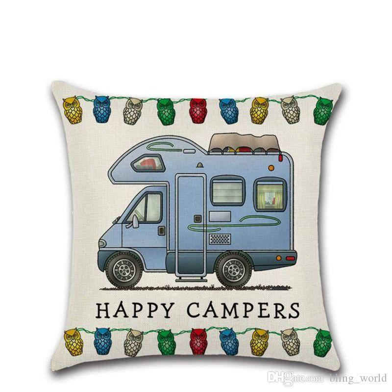 Happy Campers Pillow Case Linen Square Throw Pillows Cover Sofa Cushion Covers with Zipper Closure Home Decoration 20 Designs YW897