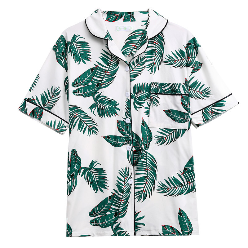 Leaf-Print-Pajama-Set-Green-Short-Sleeve-Tops-Long-Pants-Pajama-Sets-For-Women-Spring-Casual (1)