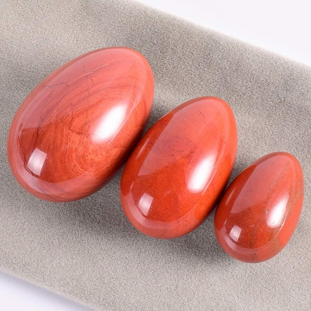 Yoni Egg 100% Natural Red Jade Yoni Egg Set Massage Eggs Undrilled Wooden base Crystal Mineral Ball for Women Kegal Exercise