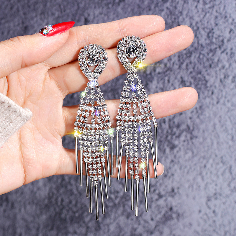New-Arrival-Crystal-Ethnic-Water-Drop-Women-Dangle-Earrings-European-Fashion-Tassels-Long-Earrings-Korean-Jewelry
