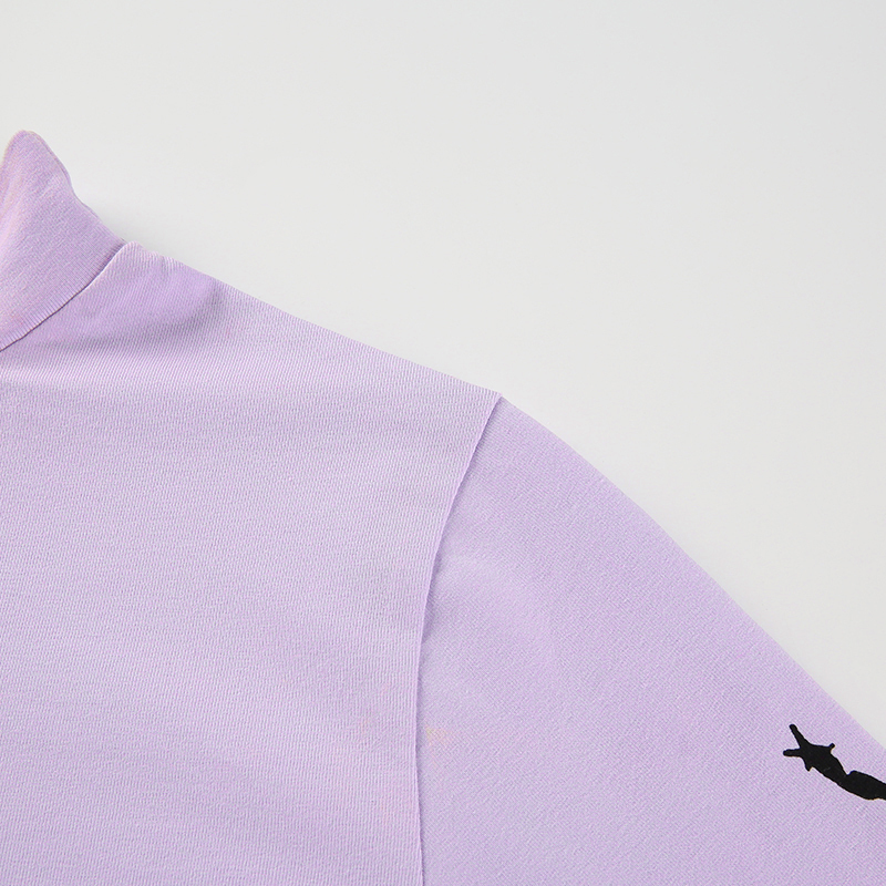 10Sweetown Harajuku Crop Top Long Sleeve Turtleneck T Shirt purple Korean fashion Style graphic tees Women Printed Kawaii Tshirt