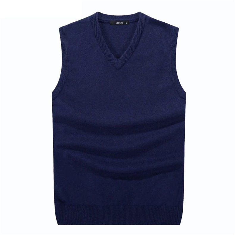 4Colors Men Sleeveless Sweater Vest Autumn Spring 100% Cotton Knitted Vest Sweater Basic Male Classic V neck Tops New M-3XL-03