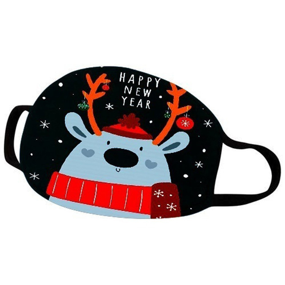 Christmas Face Masks Xmas Mouth Cover Reusable Washable Cartoon Printed Anti Dust Mask Adult Kid Black Polyester Cotton