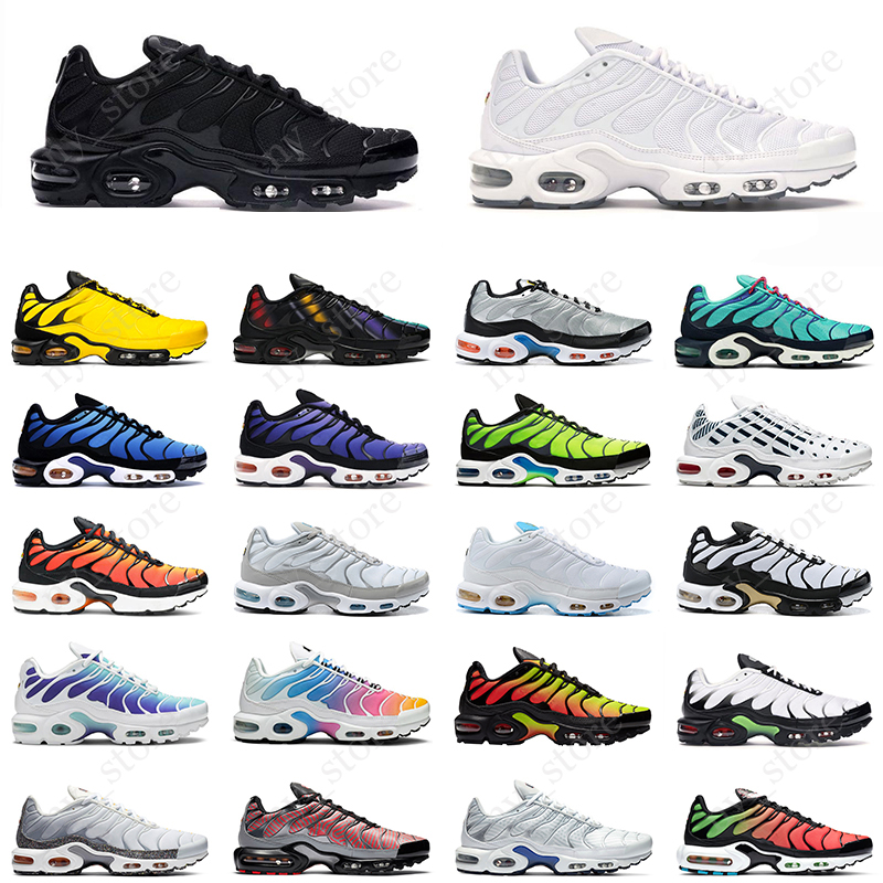 nike air max tn plus se Zapatillas de running Hombre Mujer Throwback future  triple negro blanco Hyper Crimson Chaussures Athletic Sports Sneakers ...