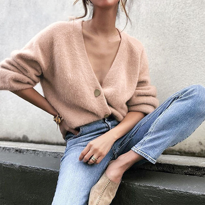 BerryGo-Casual-v-neck-short-women-knitted-sweater-Bat-sleeve-single-breasted-female-cardigan-Solid-c (2)