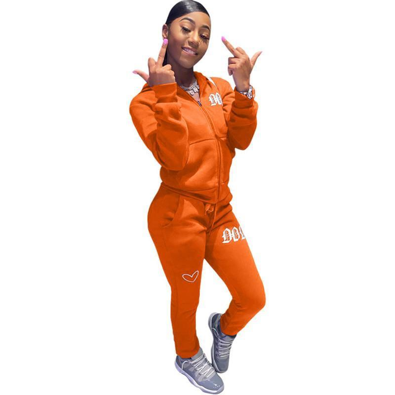 womens hoodie legging two piece set outfits long sleeve tracksuit jacket pants sportswear panelled outerwear tights sports set hot klw4982