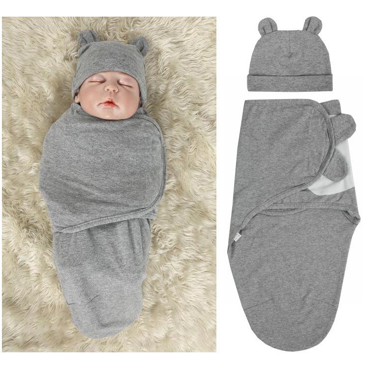 2pcs-set-0-3-Months-Newborn-Wrapping-Swaddle-Anti-shock-Baby-Wrap-Blanket-Baby-Hat-Sleeping (3)