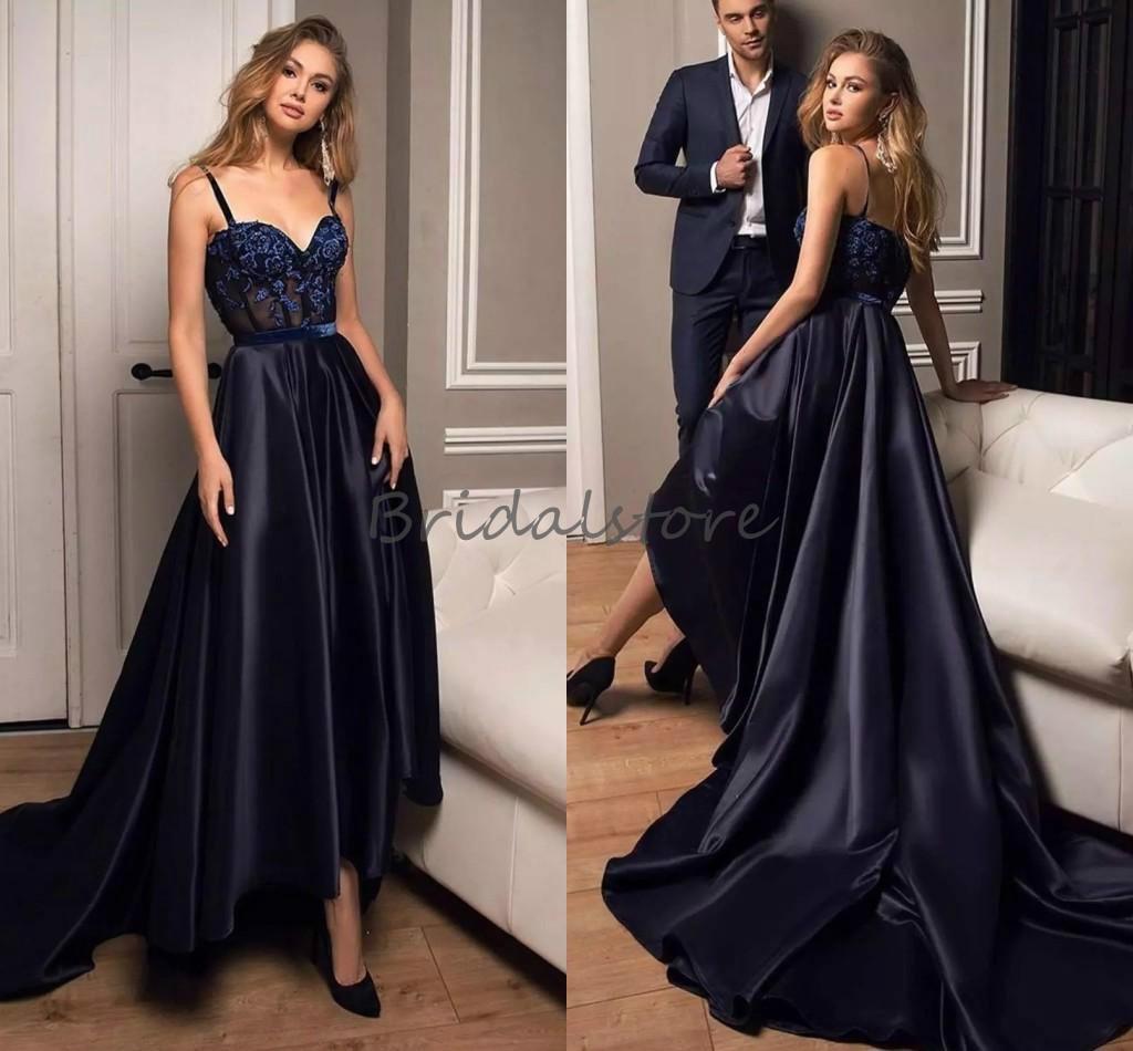 schöne hallo low prom kleider sexy spaghetti-riemen silk satin front kurz  ball gowns elegante 2021 formale abendkleid günstige robe de soiree