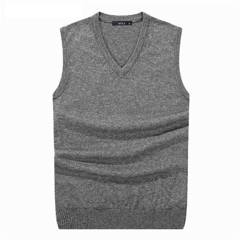4Colors Men Sleeveless Sweater Vest Autumn Spring 100% Cotton Knitted Vest Sweater Basic Male Classic V neck Tops New M-3XL-01