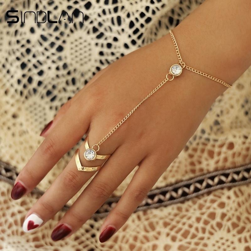 Handkette Modekette Damen Armband Schmuck Accessoire Ring Finger Arm Hand Kette