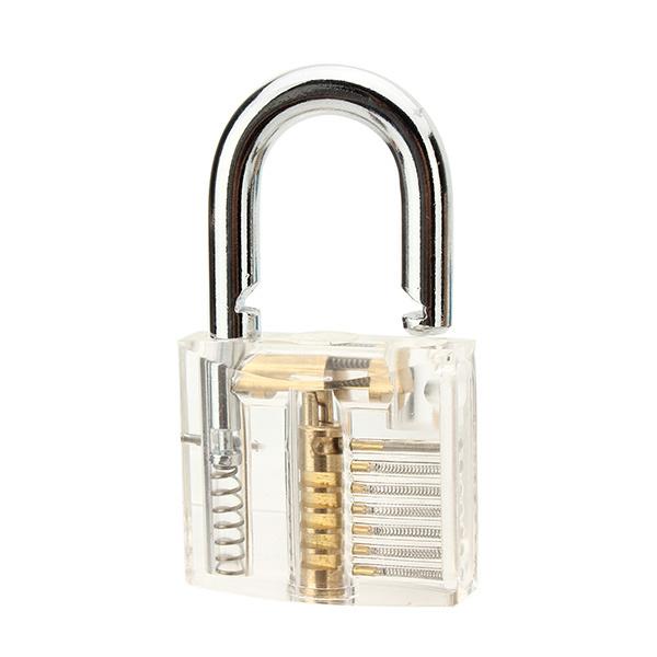 Transparent Inner Visual Padlock Practice Set with 9Pcs Unlocking Lock Pick / Key Lock Pick Tools
