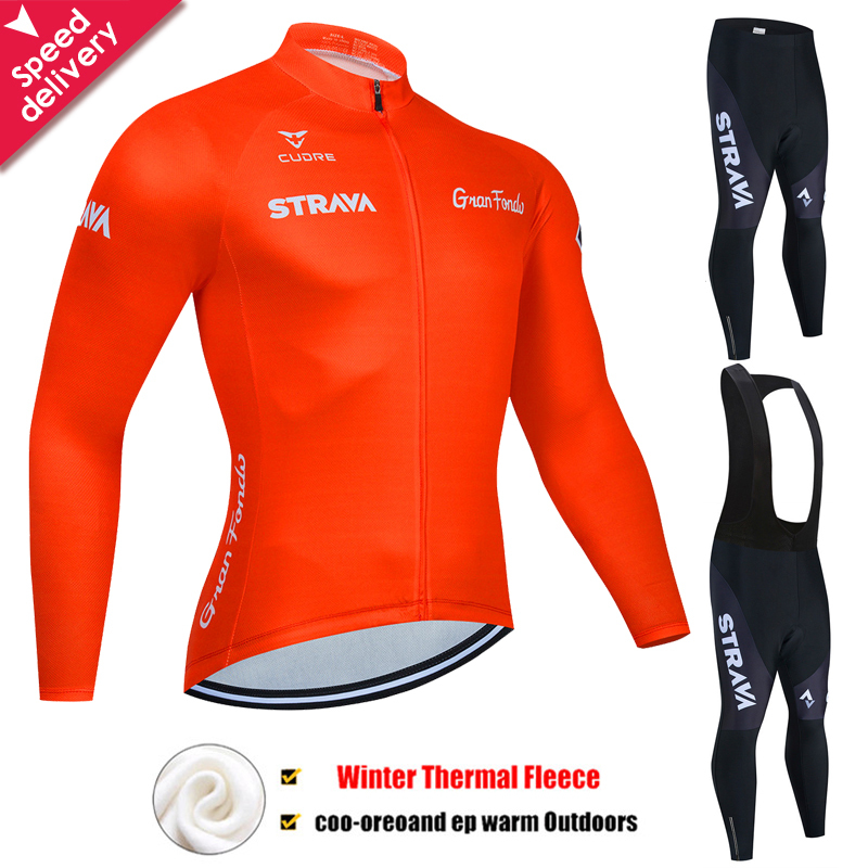 Cycling Jerseys Set 2020 STRAVA 19D Gel Padded Bib Pants Winter Windproof Thermal Fleece Long Sleeve Jacket Cycling Suits Set
